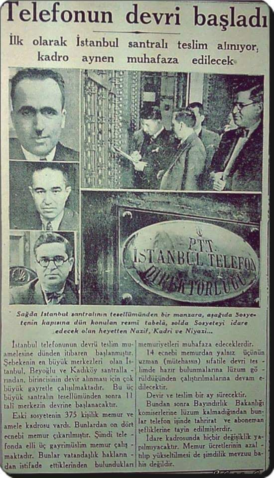 """İstanbul Telefonun devri başladı"""" (3 Eylül 1935)"""