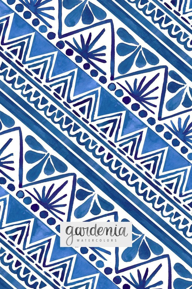 Hand Painted Watercolor Pattern Repeating Pattern Blue And White