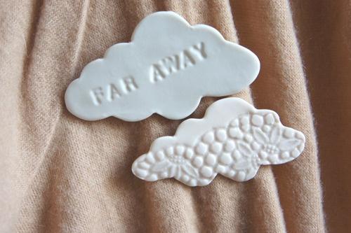 Bis Morgen — 2 Broches nuage ceramique