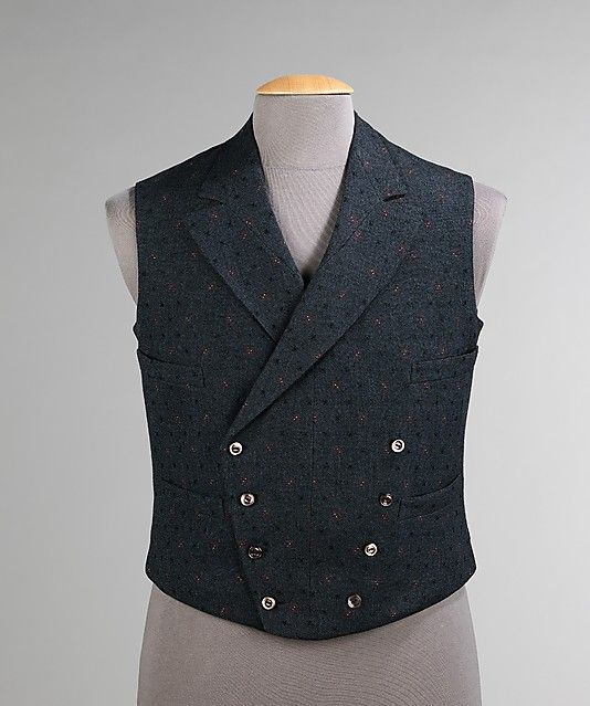 Vest, Barnes & Smits, 1904, American, wool, silk. This is a very handsome vest representative of the early 20th-century style. An outstanding feature is the inclusion of silk in the wool fabric, adding an extra glint to the surface. The fine flannel backing, unlike the more common cotton or silk is an additional mark of quality.