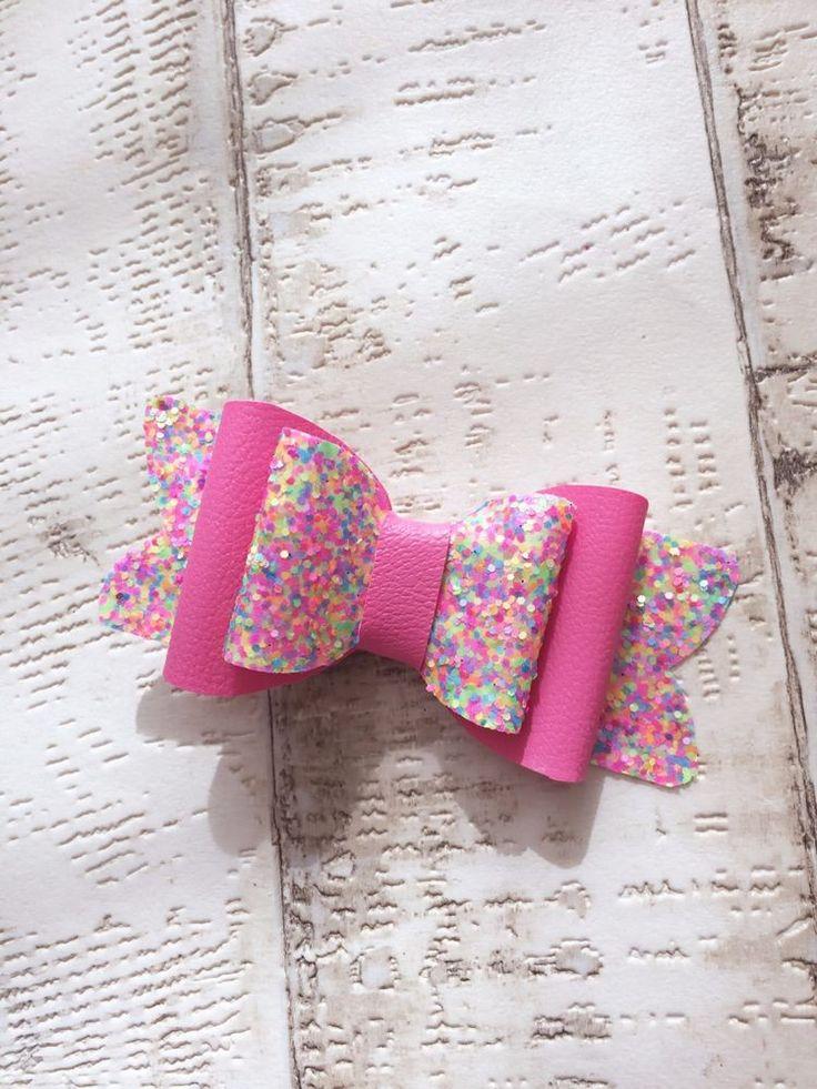 Rainbow Sprinkles Glitter And Leatherette Hair Bow Hair