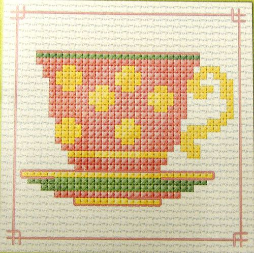 Pink Tea Cup - Semco easy-to-do counted cross-stitch kit