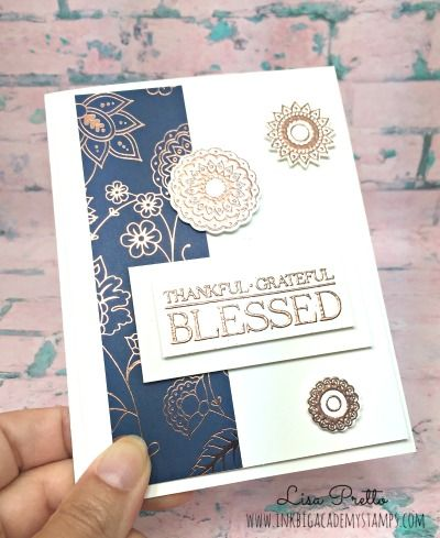 Stampin'Up! Paisleys and Posies, specialty designer series paper, copper and navy, thanksgiving