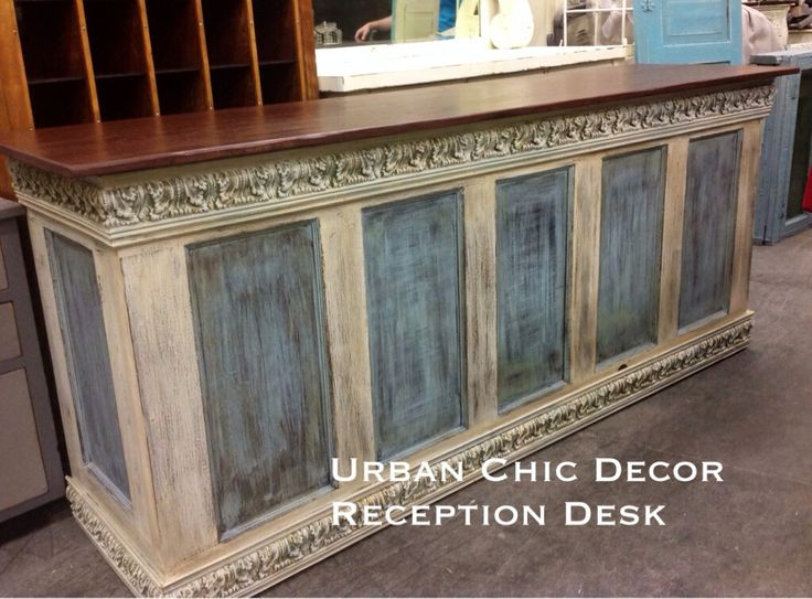 Urban Chic Decor custom build, French inspired repurposed Check-out Counter painted in duck-egg and ochre chalk paint. Click the image to find more Home Decor Pinterest pins. http://www.facebook.com/Urbanchicdecor