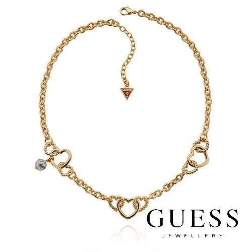 #GUESSnecklace - 18K Yellow Gold P Interlocking Love Heart GUESS Necklace