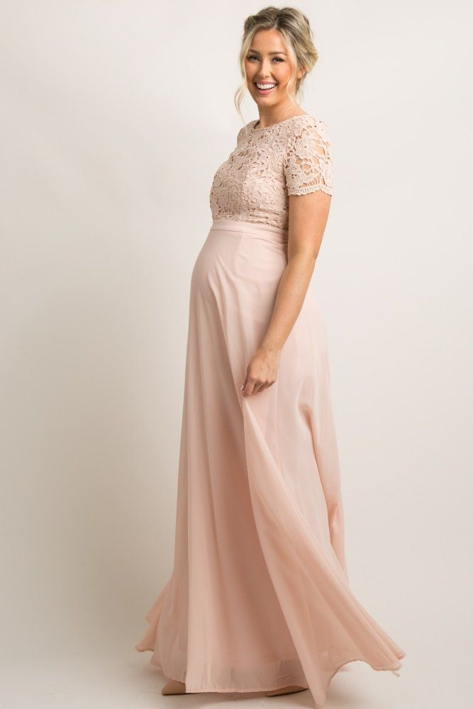 9371a4f84ed Light Pink Crochet Chiffon Open Back Maternity Evening Gown A solid hued
