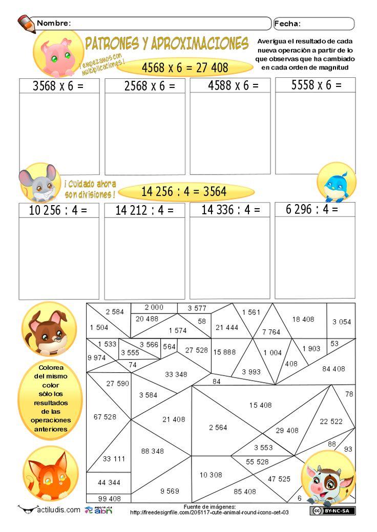 El método ABN está lleno de actividades con patrones y redondeos, con este tipo de actividades se busca por una parte que el alumnado descubra cómo funcionan bloques de números que son sometidos a un patrón en el cálculo y de ahí que puedan extrapolarlo a nuevas situaciones de cálculo, …
