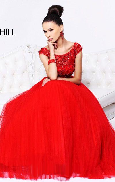 2015 Beaded Red Sherri Hill 2984 Open-Back Long Prom Dress