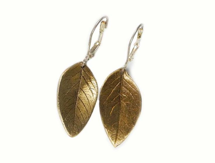 Leaf Earrings | Johnson casts each individual leaf in either bronze or silver creating one-of-a-kind pieces.