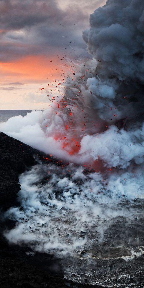 Pride of America took us past this spectacular scene where hot lava mixes with the sea - Kilaeua, Hawaii...volcano via SABON