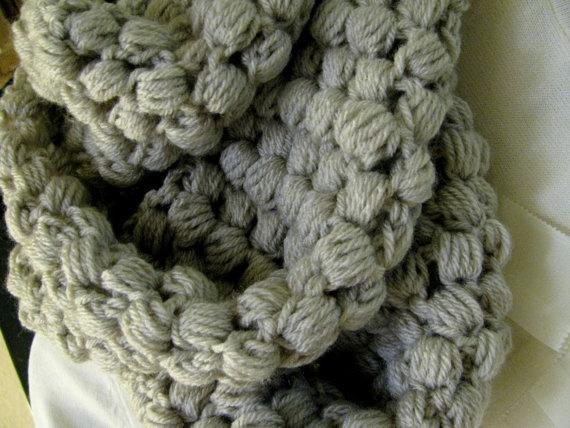 Chunky Gray Scarf - Puff Stitch! Knitting/Crochet Patterns ...
