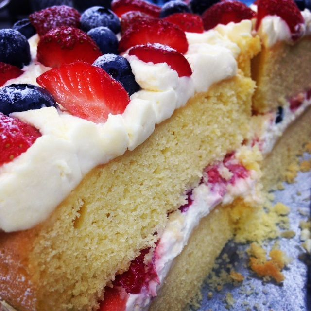 Delicious sponge cake with summer berries