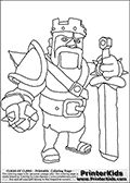 Coloring page with the Barbarian King character from the extremely popular Clash of Clans App. The Barbarian King is one of the most powerful troops in the game, it is an immortal unit that can be used to defend or attack with.