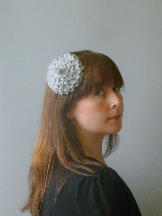 Light Grey Fascinator Hair Accessory with felt by SophieShields