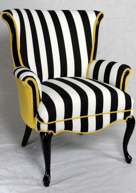 Love this chair, love the colour combination #blackandwhite #yellow #chair