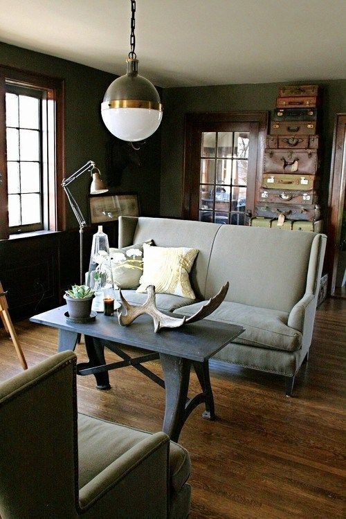 when white isn't right... low-light solutions | inspired habitat: Decor, Idea, Vintage Suitcases, Lights Fixtures, Old Suitca, Industrial Living Rooms, Contemporary Living Rooms, Sit Rooms, Vintage Industrial