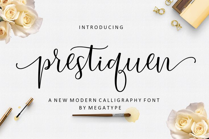Prestiquen Script Font  Prestiquen Script is a beautiful and modern calligraphy, one that is stunning and flourished. This is a stunning design that dances across your compositions and designs.