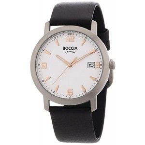 Boccia Titanium with Rose Markers Leather Band - 3544-02