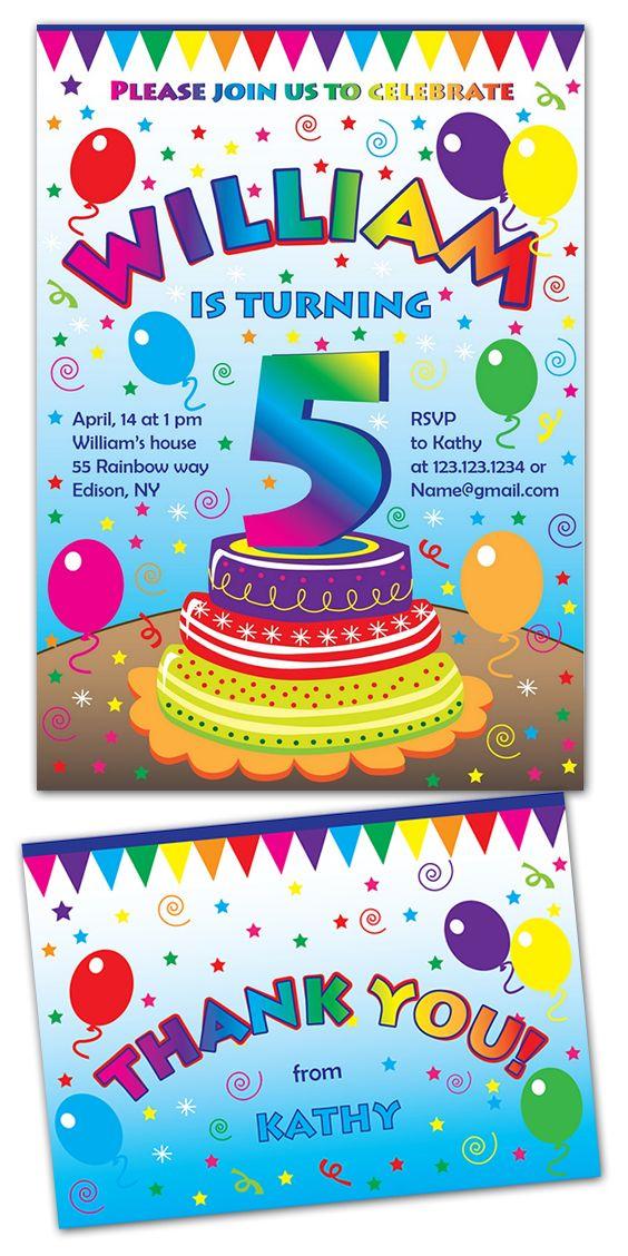 Birthday Party Kid Invitation Rainbow Kids Invite Birthdayparty 1