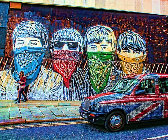 London street portrait of The Beatles, by Banksy associate Mr Brainwash. Photo by Jasna Buncic.:
