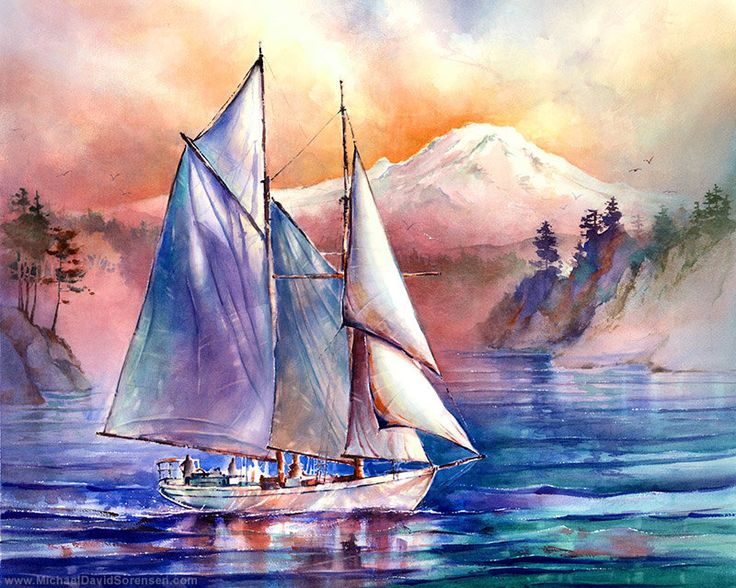 Setting Sail in the Puget Sound - Watercolor painting by Michael David Sorensen  www.MichaelDavidSorensen.com