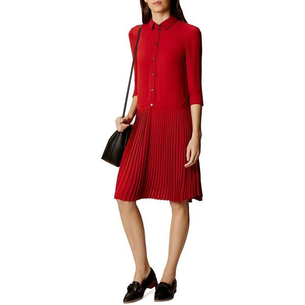 Karen Millen Drop-Waist Shirt Dress ($225) ❤ liked on Polyvore featuring dresses, dark red, garnet dress, long shirt dress, pleated shirt dress, pleated dress and red dress