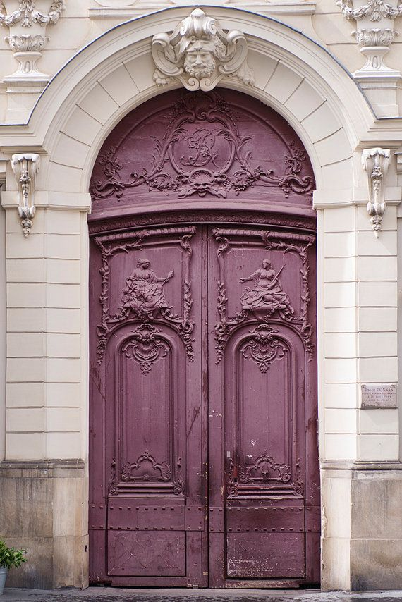 Paris Photo – Purple Door, Parisian Architecture Fine Art Photograph, Home Decor, Large Wall Art