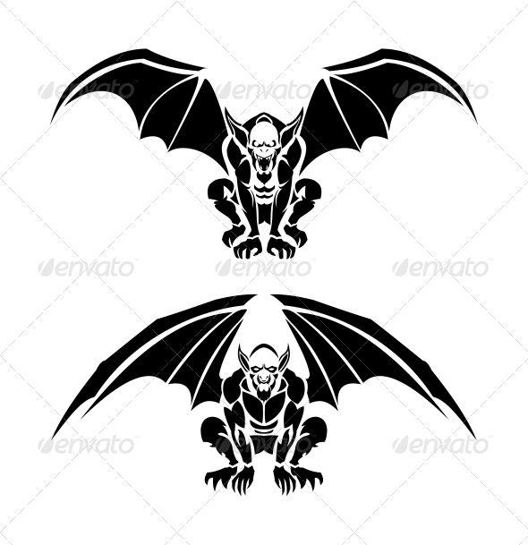 Tribal Gargoyle Tattoo Illustrations — Vector EPS #myth #halloween • Available here → https://graphicriver.net/item/tribal-gargoyle-tattoo-illustrations/6670183?ref=pxcr