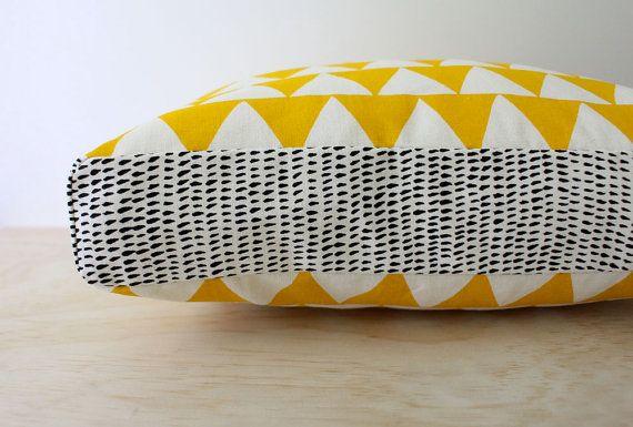 Tri Yellow cushion - Hand screen printed