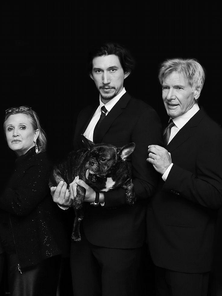 """""""Retrato de la familia Solo"""" - Carrie Fisher, Adam Driver y Harrison Ford en el estreno mundial de Star Wars: El Despertar de la fuerza"""