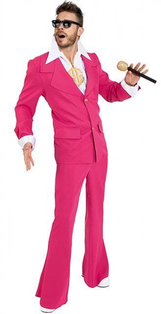 Costume vestito Be Bop fucsia, giacca con bottoni diamante e pantaloni a zampa. Impensabile per un maschio ma molto virile per lo stile della musica forte e battente. Perfetto per lo show man ballerino e cantante dal dinamismo eccitante.