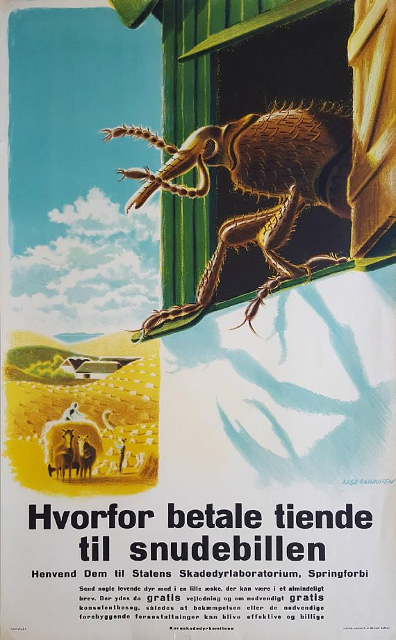 1940s Pest Campaign Poster by Aage Rasmussen  Original