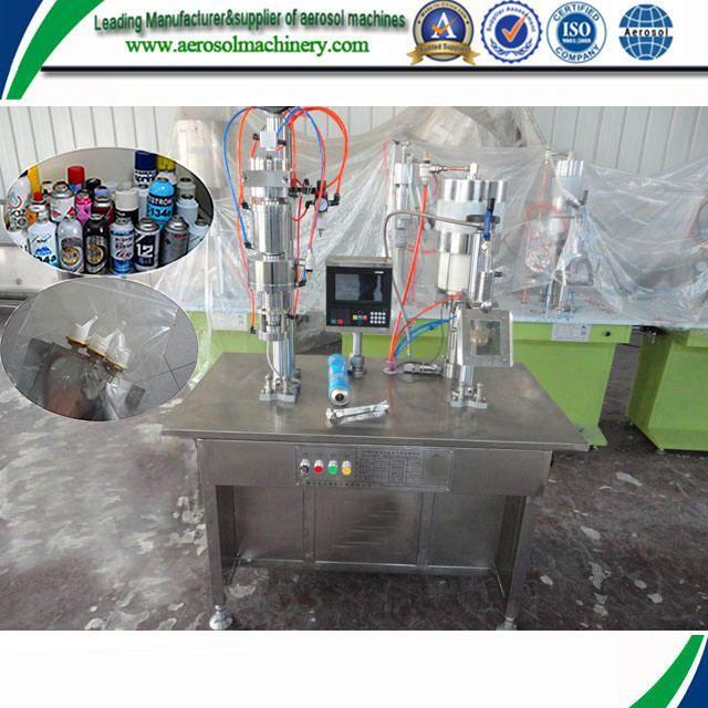 Mini type perfume semiautomatic aerosol filling machine     More: https://www.aerosolmachinery.com/sale/mini-type-perfume-semiautomatic-aerosol-filling-machine.html