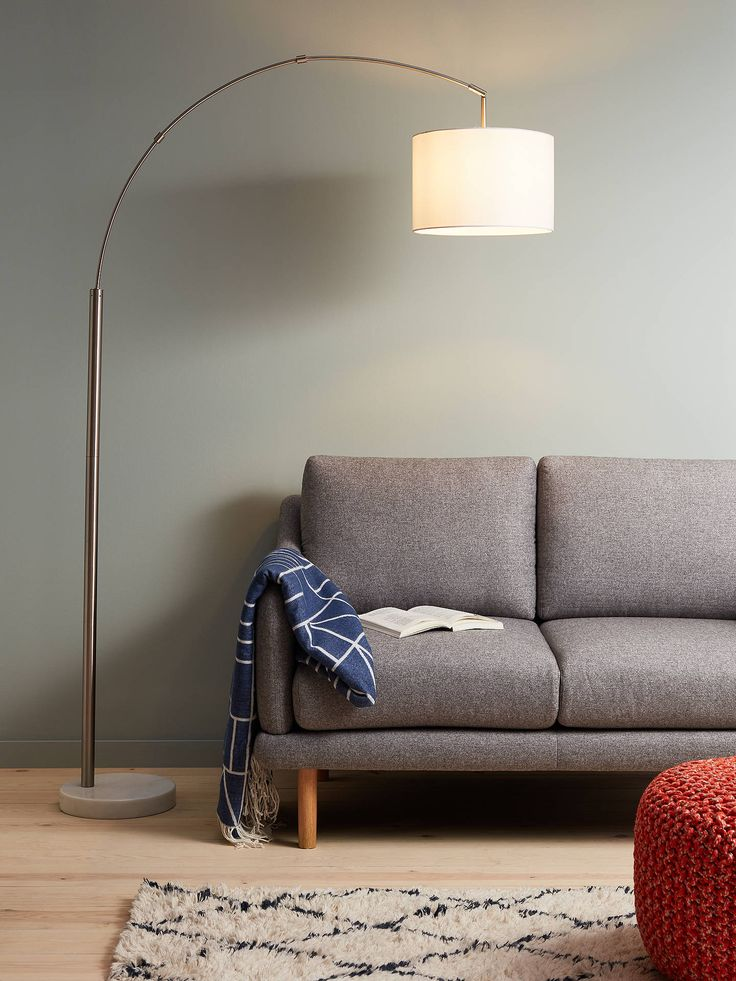 House by John Lewis Angus Arched Floor Lamp, Brushed Steel