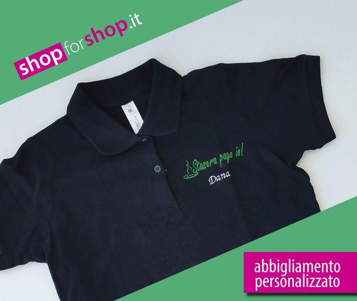 Magliette personalizzate | #Abbigliamento da lavoro uomo/donna personalizzato. La pizzeria Stasera Pago Io ha scelto le #polo di Russell Athletic e B&C Collection, noi le abbiamo rese uniche con il #ricamo del logo aziendale e il nome di chi la indosserà. Scopri tutti i nostri prodotti, visita il nostro sito http://www.shopforshop.it/  #shopforshop #magliette #tshirt #promotional #abbigliamentopersonalizzato #ricamopersonalizzato #polopersonalizzata #magliettapersonalizzata…