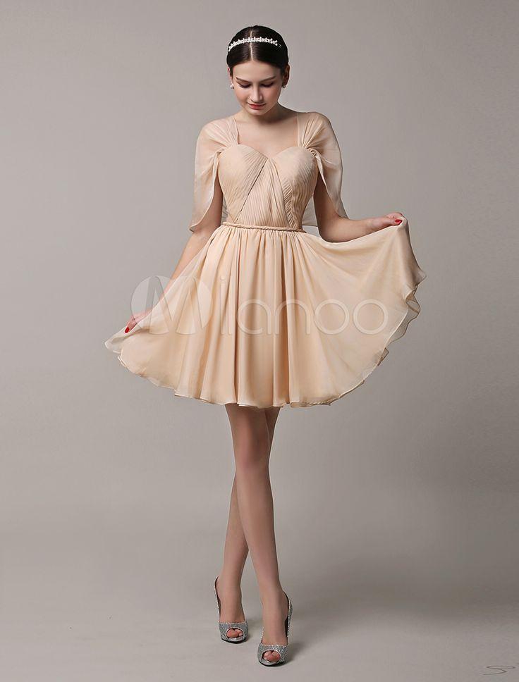 Curto ouro champanhe do Chiffon conversível verão vestido dama de honra