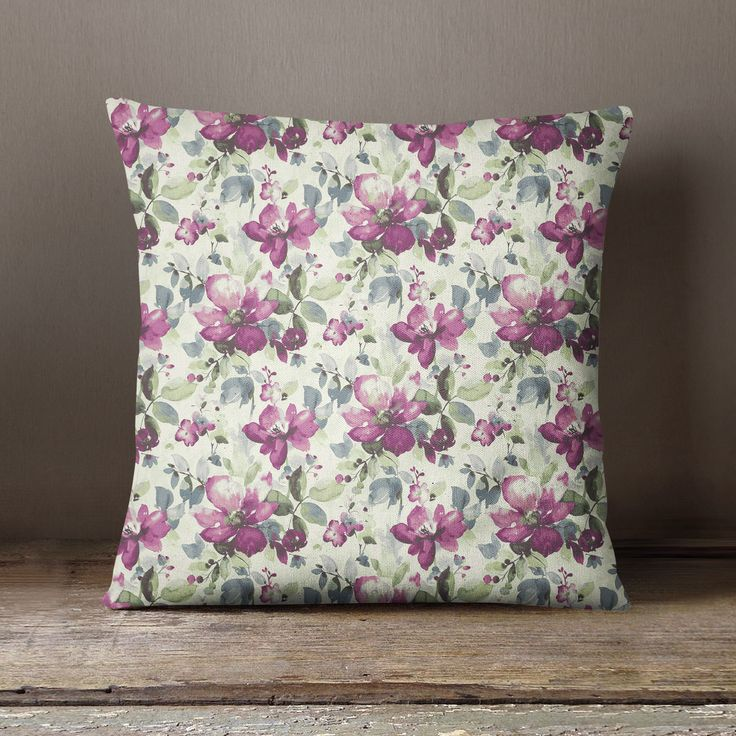 S4Sassy Floral Printed Plum Cushion Cover Decorative Pillow Cover Throw