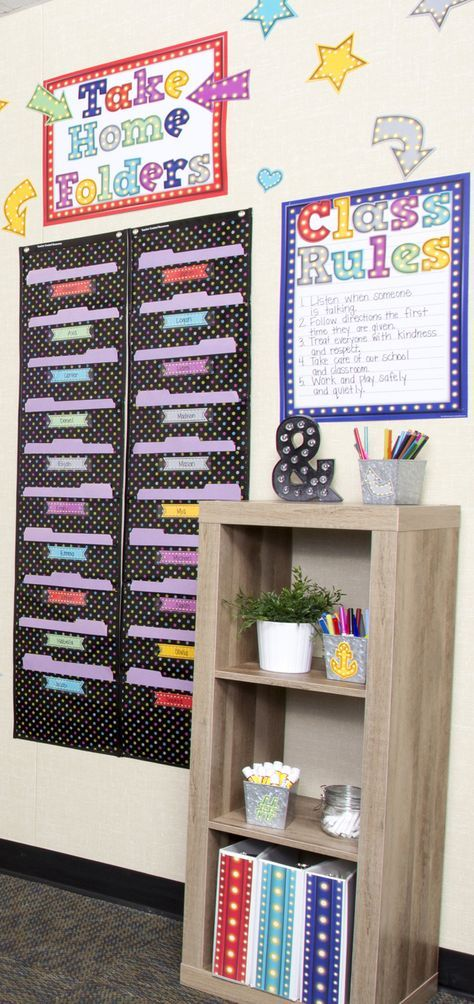 "Put their names in ""lights"" with the Marquee classroom collection! This theme features the classic marquee light letters, stars, arrows (and more!), border trim, and more in a great color combination. Your students will love being the stars of this theme."