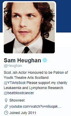 """Sam Heughan + Wikipedia & Twitter  """