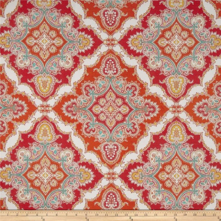 Red, Orange, Turquoise, Yellow And White Medallion Pillow Covers In  Kaufmann Indoor/Outdoor Zoie Tangerine