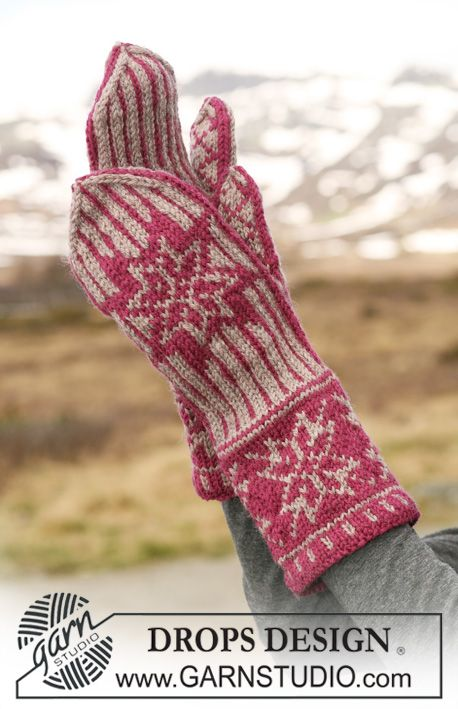 """DROPS mittens with pattern in """"Karisma"""". ~ DROPS Design"""