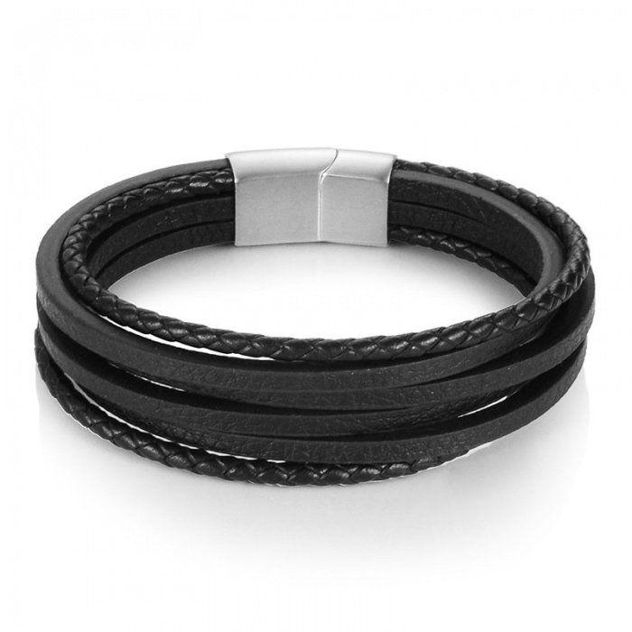 316L Stainless Steel Black Rubber Men Boys Fashion Bracelet Wristband Bangle
