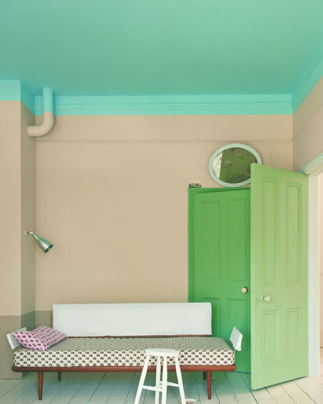 Extending paint beyond the ceiling. Love the mix of colour too (via Farrow & Ball): Green Doors, Color Palettes, Paintings Ceilings, Mint Green, Farrow Ball, Color Combos, Bright Color, Half Wall, Bedrooms Decor