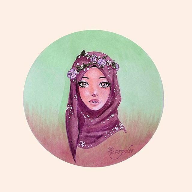 Beautiful hijabi drawing Illustration with markers by Coyidee  #illustration #hijab #drawing #art #islam #muslim #muslimah #anime #manga #copic #markers