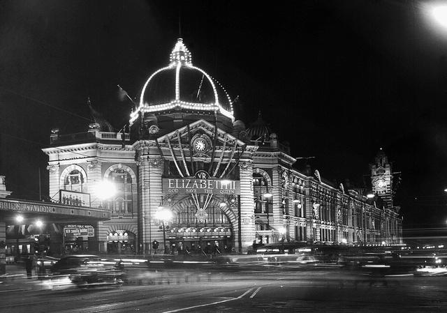 Flinders St Station, c1954.