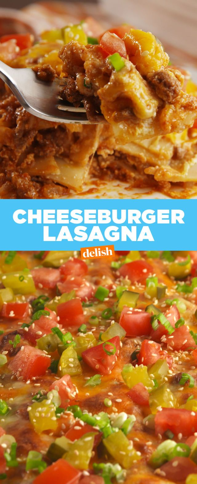 This outrageous lasagna tastes exactly like a cheeseburger. And you're going to love us for it.