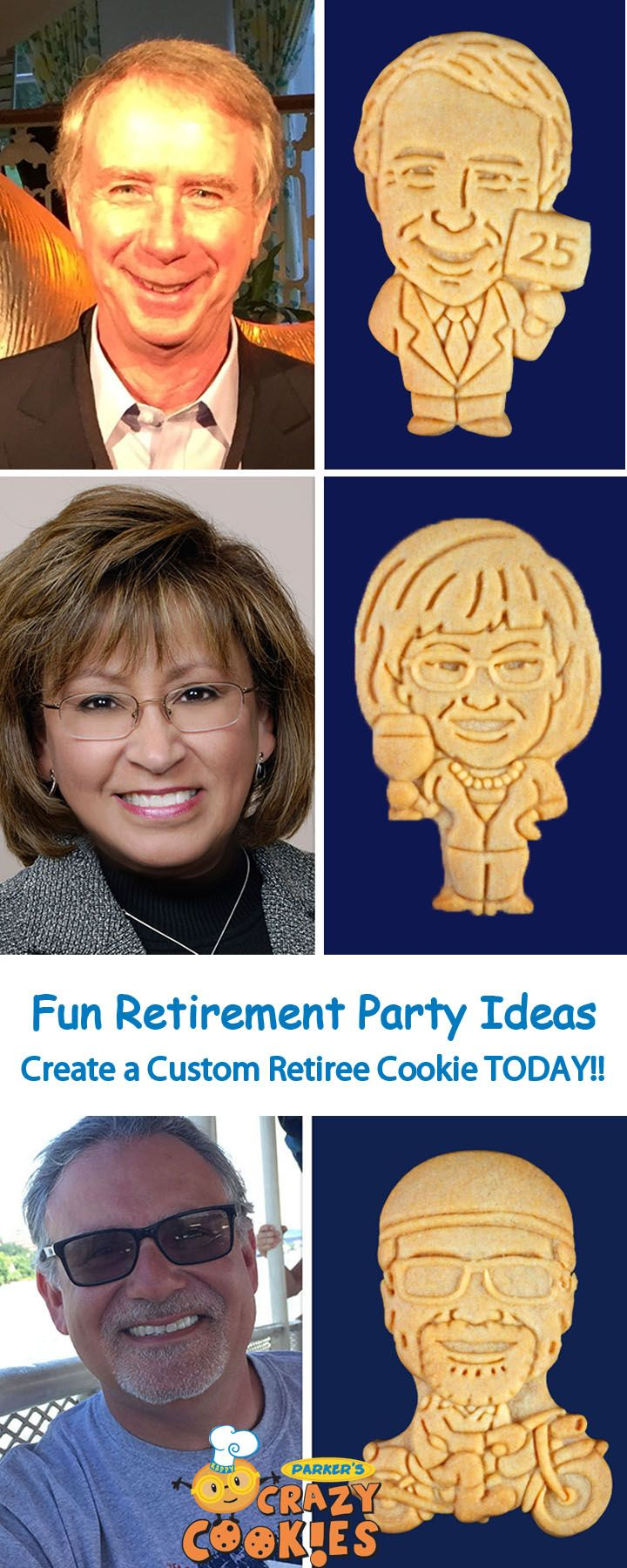 Retirement Party Ideas!! See your retiree as a Cookie!! Create your very own Retirement Party Favor Today! Discover the magic at www.parkerscrazycookies.com