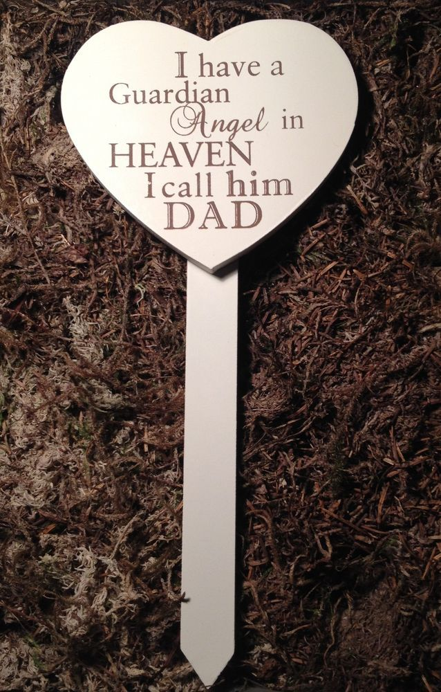 Memorial For Special Dad Wooden Heart Shaped Grave Stick, Stake Ornament Tribute