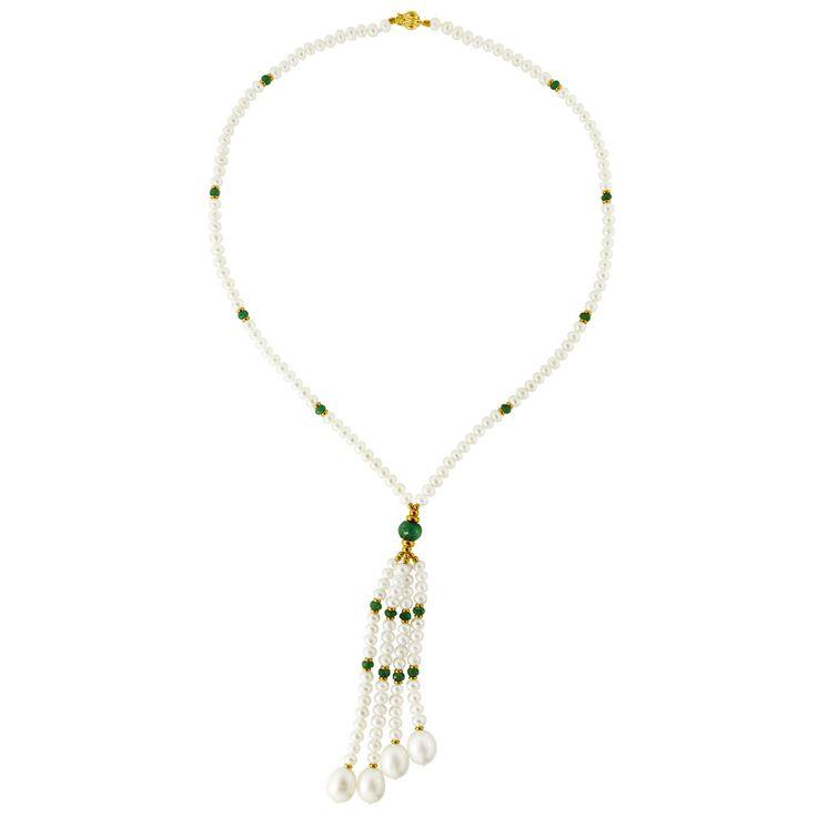 Κολιέ με λευκά μαργαριτάρια,  σμαράγδια και χρυσά στοιχεία K14 - M121229E