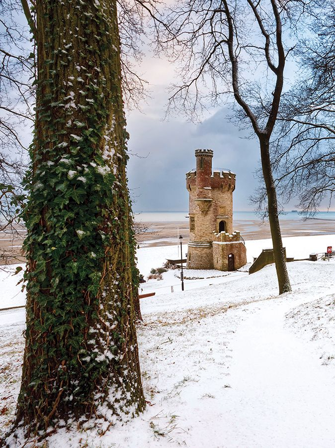 Appley Tower in the depths of a snowy winter. Ryde, Isle of Wight.